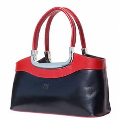 Black leather handbag with red handles is full of elegance and simple design for every women. Please check on necessities. Black Leather Handbags, Simple Designs, Shoulder Bag, Elegant, Chic, Classic, Red, Women, Fashion
