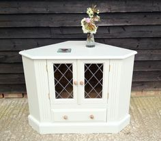 Shabby Chic Wooden Painted F&b Pine Corner Cabinet Tv Stand Side Table Cupboard