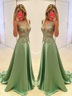 Gorgeous Sleeveless Appliques Evening Dress 2017 Long Floor Length