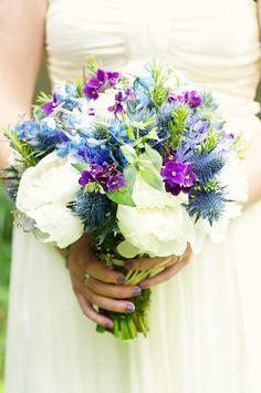 Beautiful Blooms Garden Bouquet - Peony, Delphinium, Thistle, Rosemary, Mint