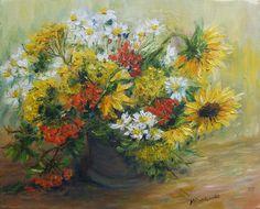 Jesienny bukiecik -  Maria Roszkowska Winter Flowers, Mario, Stitches, Painting, Image, Life, Vases, Art Production, Stitching