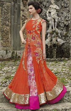 Online shopping for designer anarkali lehenga choli designed with printed net and embroidery work. Designer Anarkali, Designer Gowns, Designer Clothing, Indian Gowns, Indian Outfits, Indian Clothes, Indian Wear, Anarkali Dress Online Shopping, Palazzo