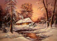 Winter On Paintings - Anca Bulgaru & Peter Heaven + Blue light orchestra Landscape Art, Landscape Paintings, Watercolor Paintings, Snow Scenes, Winter Scenes, Winter Painting, Christmas Scenes, Winter Pictures, Country Art