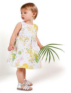 Vestido de satén estampado ceremonia bebé niña BLANCO CLARO ESTAMPADO