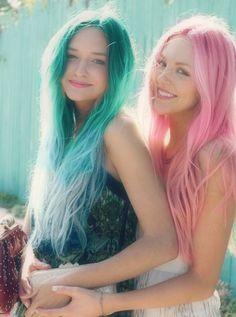 #pink #dyed #scene #hair #pretty #green #dyed #scene #hair #pretty