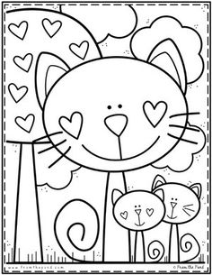 Coloring Club Library — From the Pond - Desenhos para colorir - Cat Coloring Page, Coloring For Kids, Printable Coloring Pages, Coloring Pages For Kids, Coloring Books, Art Drawings For Kids, Drawing For Kids, Easy Drawings, Kindergarten Coloring Pages