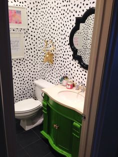 Dalmation Spot Bathroom, diy bathroom makeover, wall stencil, chalk paint vanity, green vanity