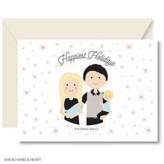 Holiday Sparkle, Custom Portrait, Printable Card, Family Portrait, Custom Illustration, Greeting Card