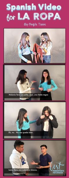 """Angie Torre's Spanish Clothing Video is perfect comprehensible input for your Unit on, """"La ropa"""". The pop-in visuals and Spanish subtitles aid in comprehension. See what else is included!"""