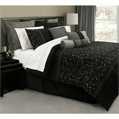 Discount Comforter Sets - Cheap Comforter Sets - Discount Bedding - Universe Black and Silver Bedding by Lawrence - FINAL SALE