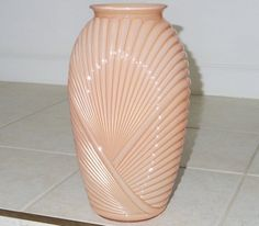 "13"" CORAL BELGIUM ART Deco Vase Urn Draped Glass Ribbed Pleated Embossed Overlay Cream Tone 1930s Eu"