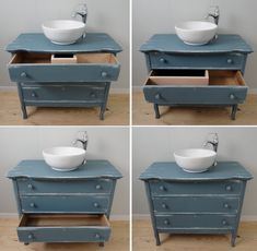 New Bathroom Sink Diy Vanity Antique Dressers Ideas Dresser Vanity Bathroom, Wood Bathroom, Bathroom Toilets, Vanity Sink, Bathroom Furniture, Bathroom Tray, Bathroom Ideas, Bathroom Cabinets, Antique Bathroom Vanities