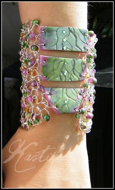 Silver crochet Wire and polymer clay cuff bracelet by KASTina, $45.00