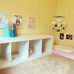 Montessori bedroom with floor bed for baby.
