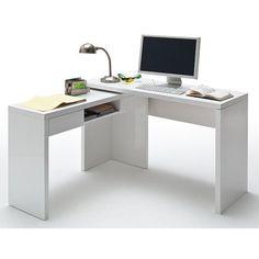 Malte And Mike High Gloss Finish Corner Computer Desk In White