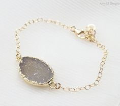 Taupe Druzy Bracelet 14k Gold Filled Chain by AmyJillDesigns,