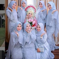 Keseruan bridesmaid Photo by Dress Brukat, Hijab Dress Party, Hijab Style Dress, The Dress, Batik Dress, Bridesmaid Poses, Blue Bridesmaids, Wedding Bridesmaid Dresses, Bridal Hijab