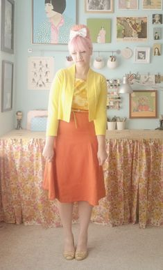 skirt & cardigan and colors and house, oh my.