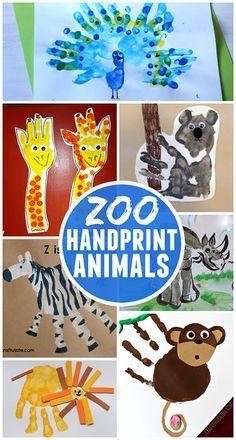 Fun Zoo Animal Handprint Crafts for Kids (Find a tiger, lion, monkey, zebra, rhino, giraffe and more!) | CraftyMorning.com