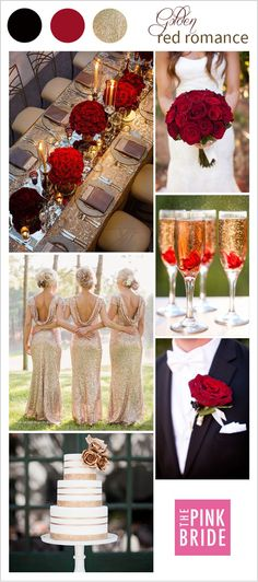 Red and Gold wedding inspiration and ideas for a classic wedding day look and feel - wedding colors and color palette inspiration colors red Wedding Color Board: Golden Red Romance - The Pink Bride Summer Wedding Colors, Wedding Colours, Summer Wedding Themes, February Wedding Colors, Classic Wedding Themes, Romantic Wedding Colors, Red Wedding Decorations, Stage Decorations, October Wedding