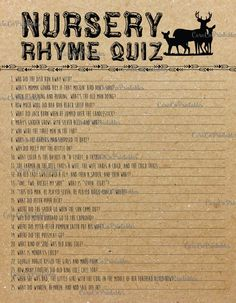 Nursery Rhyme Quiz Baby Shower Game Fill in by CaraCoPrintables