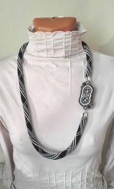 Necklace in cage convertible necklace bracelet soutache brooch