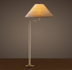 Column Floor Lamp French Column Glass Swingarm Floor Lamp  Antique Brass  Pfamily