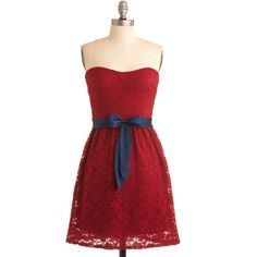Raspberry Compote Dress ($58) ❤ liked on Polyvore featuring dresses, vestidos, red, strapless, modcloth, women, embroidered lace dress, strapless dresses, lace dress and strapless cocktail dresses
