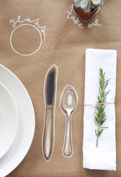 Make your tablecloth more fun and personal by outlining and labeling place settings.