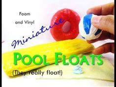 Working DIY Dollhouse Miniature Pool or Beach Floats, Beach Towel, and Flip Flops - YouTube
