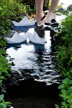 Paper Boats in a stream -- signs of Spring!