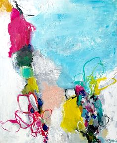 Petals in the Sea-18x24- Fresh, Colorful Abstraction- Free Domestic Shipping / Art by Autumn Rose
