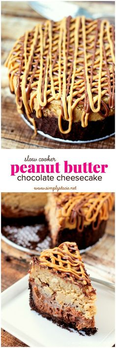 Slow Cooker Chocolate Peanut Butter Cheesecake - This yummy slow cooker dessert is the epitome of comfort food. It's thick, dense, moist and sweet. It's everything a cheesecake should be and then some.