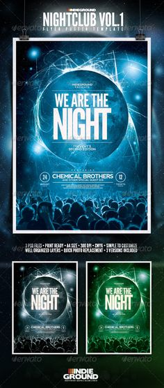 "Buy Nightclub Flyer/Poster by indieground on GraphicRiver. Nightclub Flyer/Poster Template ""We Are The Night"" – This flyer was designed to promote an Electro / Dance / Te. Club Poster, Party Poster, Design Page, Web Design, Club Flyers, Poster Layout, Poster Ideas, Club Parties, Grafik Design"