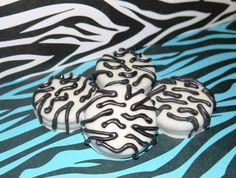 12 Zebra Print Chocolate Covered Oreo Edible by FavorsbyLauren