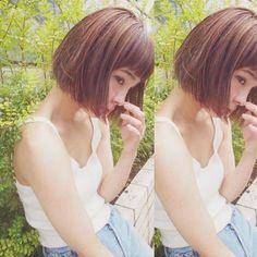 横のシルエットも可愛い... #hair#hairstyle#haircolor#make#bob#shooting#髪#髪型#髪色#撮影#アッシュベージュ#ハイライト#きりっぱなし#ボブ#きりっぱなしボブ