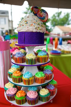 Our Candyland party - the cupcake tower with smash cake.