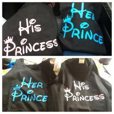 Our couple shirts for Disneyland #prince #princess
