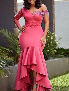 Patchwork V-Neck Long Sleeve Mid-Waist Elegant Dresses African Print Dresses, African Fashion Dresses, African Dress, Lace Gown Styles, Elegant Dresses, Formal Dresses, Sexy Dresses, Lace Dresses, Dresses Dresses