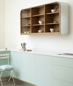 Curved wall dishes unit.