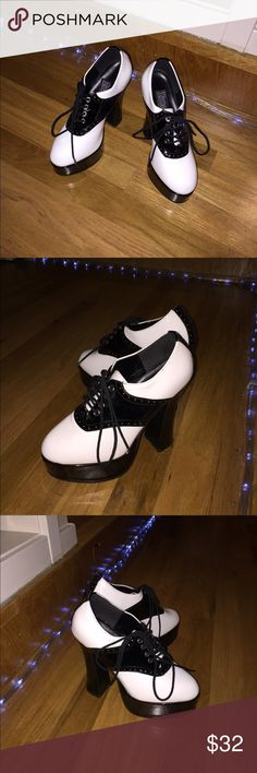 Selling this Funtasma Black & White Saddle Platform Heels on Poshmark! My username is: pptreasures. #shopmycloset #poshmark #fashion #shopping #style #forsale #Funtasma #Shoes
