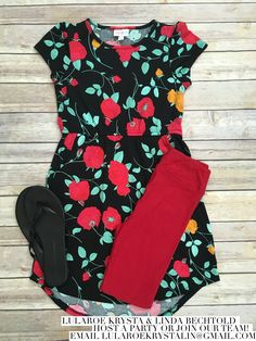 For my girl who loves roses -- LuLaRoe roses Mae and red leggings LuLaRoe outfit inspiration Flat lay Photography fashion 2017
