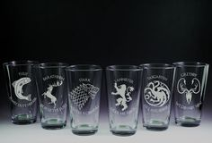 Game of Throne - House - Etched Pint Glasses - Set of 6 via Etsy