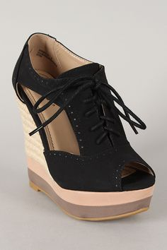 Bamboo Energy-21 Cut Out Lace Up Oxford Wedge Bootie $33.40