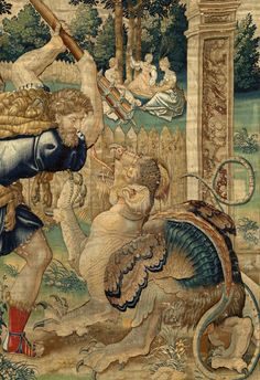 willigula:  Hercules fighting a dragon in the Garden of the Hesperides from a tapestry by Willem Dermoyen, 1528