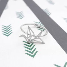 Envol Oiseau Origami Silver Ring - Majolie   - 1