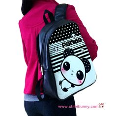 Cute panda - Leather backpack - LBP6