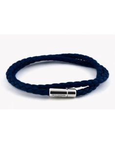 Tateossian | Blue Double Wrap Slim Scoubidou Bracelet In Navy Leather With Silver Clasp for Men | Lyst