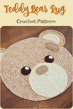 inspir How adorable is this teddy bear crochet rug! It would look lovely in kids room. Perfect gift for a new baby