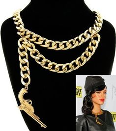 Gold Dangle Gun Pendant Link Urban Fashion Jewelry Chain Necklace!! Seen on Rihanna !!